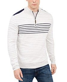 Men's Low Tide Quarter-Zip Striped Sweater, Created For Macy's