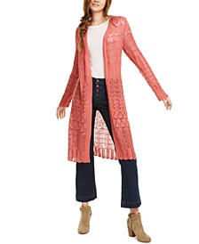 Juniors' Pointelle-Knit Duster Cardigan