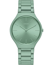 Unisex Swiss True Thinline Les Couleurs Le Corbusier Green High-Tech Ceramic Bracelet Watch 39mm