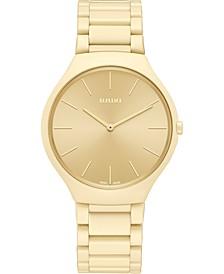 Unisex Swiss True Thinline Les Couleurs Le Corbusier Gold-Tone High-Tech Ceramic Bracelet Watch 39mm