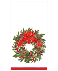 Evergreen Wreath White Paper Guest Towel