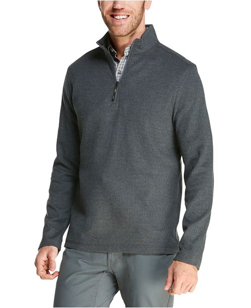 G.H. Bass & Co. Men's Herringbone Jacquard Fleece Quarter-Zip Sweater
