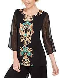 Studded Chiffon Sleeve Top, Created For Macy's