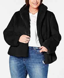 INC Plus Size Faux-Fur Teddy Coat, Created for Macy's