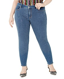 INC Plus Size Polka Dot Skinny Jeans, Created For Macy's