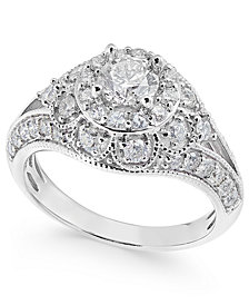 Diamond Halo Milgrain Dome Engagement Ring (1-1/2 ct. t.w.) in 14k White Gold