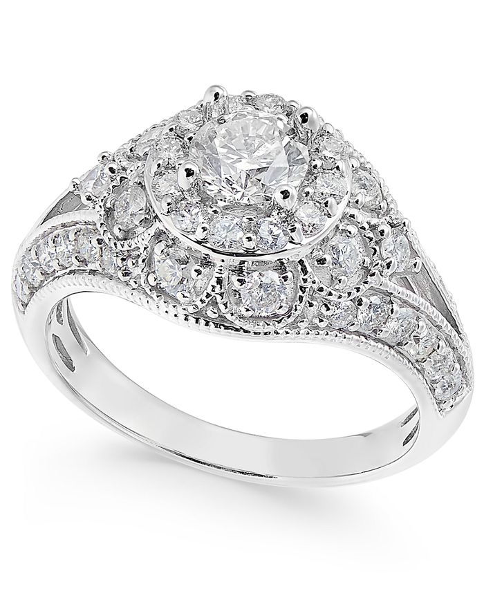 Macy's - Diamond Halo Milgrain Dome Engagement Ring (1-1/2 ct. t.w.) in 14k White Gold