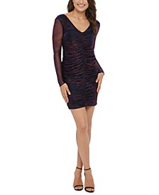 Metallic-Print Ruched Bodycon Dress