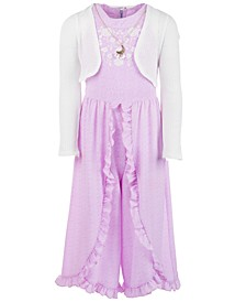 Big Girls 3-Pc. Shrug, Ruffled Jumpsuit & Necklace Set