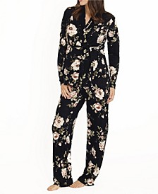 Blooming Women 2 Piece Kimono Top and Matching Pants Set