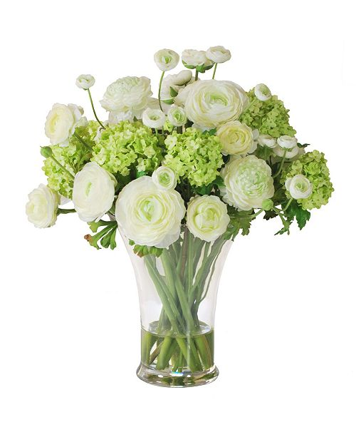 Winward Silks Permanent Botanicals Ranunculus in Glass Vase