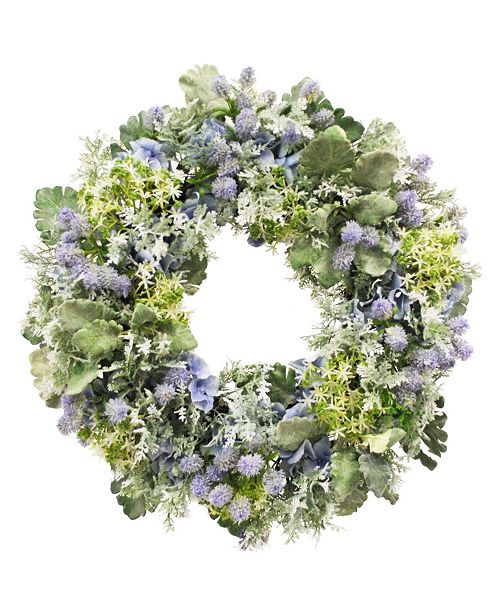 Winward Silks Winward International Mixed Hydrangea and Thistle Wreath