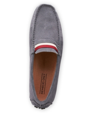 Members Only Men's Leather Moccasin Loafers Men's Shoes In Grey