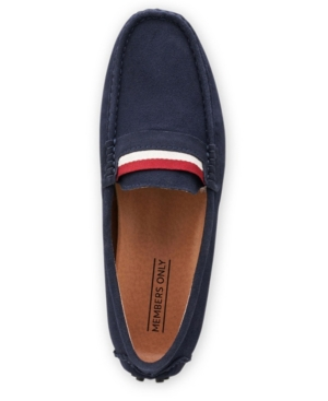 Members Only Men's Leather Moccasin Loafers Men's Shoes In Navy