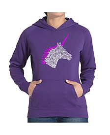 Women's Word Art Hooded Sweatshirt -Unicorn