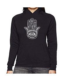 LA Pop Art Women's Word Art Hooded Sweatshirt - Hamsa