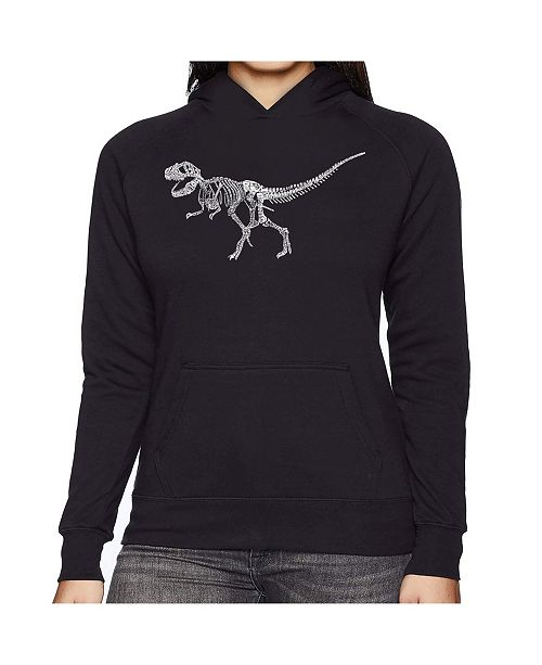 LA Pop Art Women's Word Art Hooded Sweatshirt -Dinosaur T-Rex Skeleton