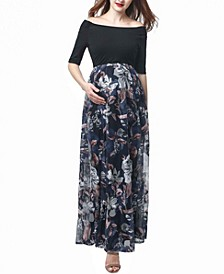 Mabel Maternity Mesh Print Maxi Dress