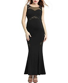 Corrine Maternity Lace Accent Mermaid Maxi Dress