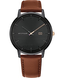 Men's Brown Leather Strap Watch 40mm