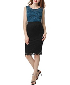 Luna Maternity Color Block Lace Midi Dress