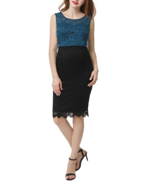 Kimi + Kai Luna Maternity Color Block Lace Midi Dress