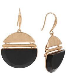Gold-Tone Stone Geometric Drop Earrings