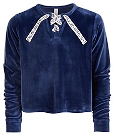 Big Girls Lace-Up Velour Sweatshirt, Created For Macy's