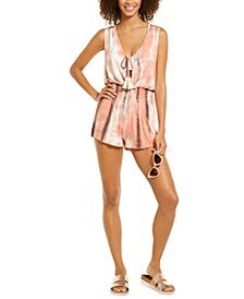Tassel-Front Tie-Dyed Swimsuit Cover-Up