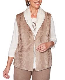 Petite First Frost Reversible Faux-Fur Vest