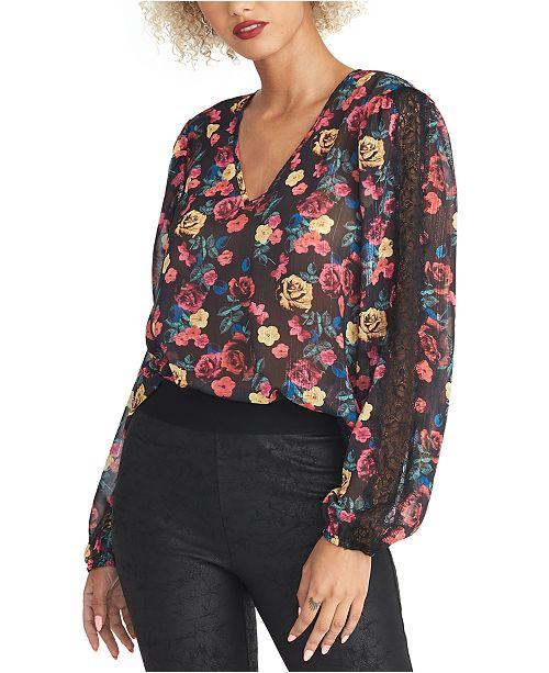 RACHEL Rachel Roy Eve Floral-Print Lace-Trim Top