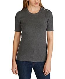 Stripe-Print Button-Trim Short-Sleeve Sweater