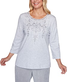 Petite Lake Geneva Scroll-Embroidered Knit Top