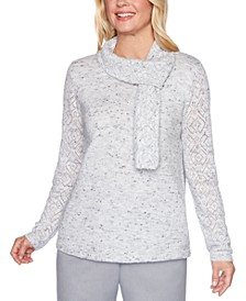Petite Lake Geneva Pointelle Sweater With Scarf