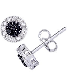 Black and White Diamond 1/3 ct. t.w. Round Stud Earrings in Sterling Silver