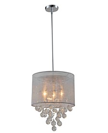 Modern, Comtemporary Charlotte Textured Silk Shade 3-Light Crystal Chandelier with Bubbles Glass Ball