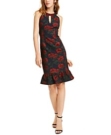 Nanette Leopore Ruffled Rose-Print Dress