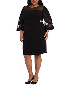Plus Size Illusion-Detail Bell-Sleeve Dress