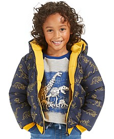Little Boys Dino Reversible Water-Resistant Hooded Puffer Jacket, Created For Macy's