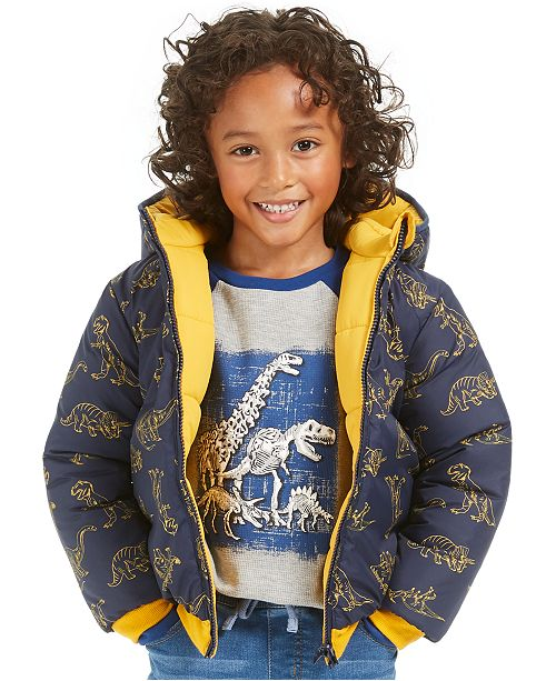 Epic Threads Toddler Boys Dino Reversible Water-Resistant Hooded Puffer Jacket, Create For Macy's