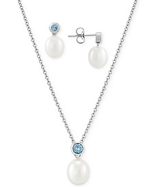 2-Pc. Set Cultured Freshwater Pearl (7-1/2 & 8-1/5mm) & Blue Topaz (1/2 ct. t.w.) Pendant Necklace & Matching Stud Earrings in Sterling Silver
