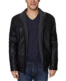 Men's Faux Leather Moto Jacket with Faux Shearling Lining