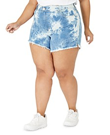 Juniors' Plus Size Tie-Dye Frayed-Hem Shorts