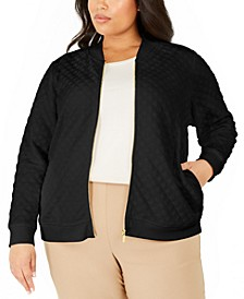 Plus Size Textured Knit Bomber Jacket, Created For Macy's