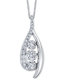 "Diamond Wishbone 18"" Pendant Necklace (1/2 ct. t.w.) in 14k White Gold"