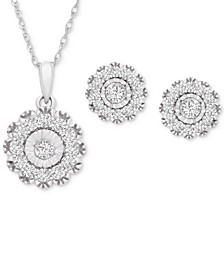 2-Pc. Set Diamond Pendant Necklace & Matching Stud Earrings (1 ct. t.w.) in 14k White Gold, Created for Macy's