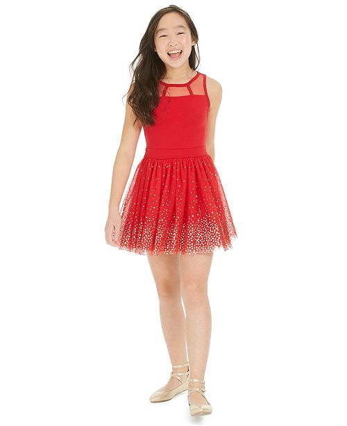 Epic Threads Big Girls Metallic Star-Print Tulle Dress, Created For Macy's