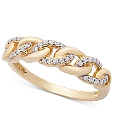 Diamond Link Detail Statement Ring (1/6 ct. t.w.) in 14k Gold, Created for Macy's