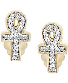 Diamond Ankh Stud Earrings (1/10 ct. t.w.) in 14k Gold, Created for Macy's