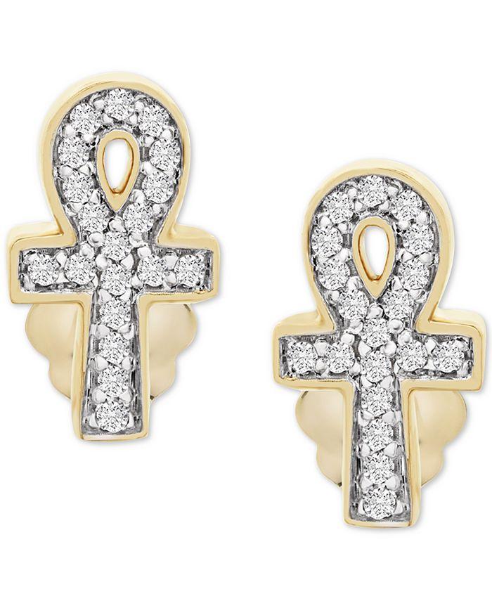 Wrapped - Diamond Ankh Stud Earrings (1/10 ct. t.w.) in 14k Gold